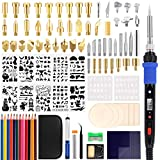101Pcs Wood Burning Kit LCD Display Digital Soldering Iron Set DIY Hand-make Artwork Professional Pyrography Wood Craft Tools Pen Rapid Heating Adjustable Temperature Embossing/Carving/Soldering