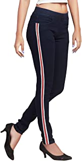 ADBUCKS Women's Cotton Lycra Jeggings with Strip & Elasticated Waistband (Plus Size Also Available)