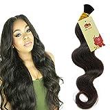 Hannah Queen Wet N Wavy Bulk hair HUMAN HAIR Micro Braiding 3 Bundle 150g Brazilian Body Wave Bulk Hair For Braiding Human Hair No Weft (18 18 18 Natural Black #1B)