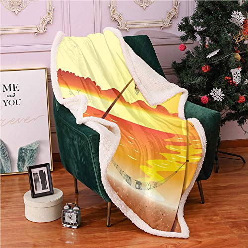 SeptSonne Sunset Fleece Throw Blanket 40'X50',Pattern of Seascape Illustration Palm Trees and Hammock Summer Time Blanket Small Quilt,Soft Microfiber Throw Blankets(Yellow and Burnt Orange)