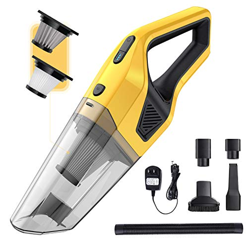 Handheld Vacuums Cordless with 8000PA Powerful Suction Rechargeable Portable Vacuum Cleaner Mini Wet Dry Lightweight Hand Held Vac for Home Car Cleaning,