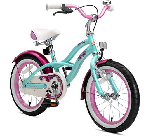 "BIKESTAR Bicicletta Bambini 4-5 Anni Bici Bambino Bambina 16 Pollici Freno a Pattino e Freno a retropedale 16"" Cruiser Edition Verde Menta"