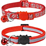 Taglory Reflective Cat Collar with Bell and Safety Release, 2-Pack Girl Boy Pet Kitten Collars Adjustable 19-32cm Red