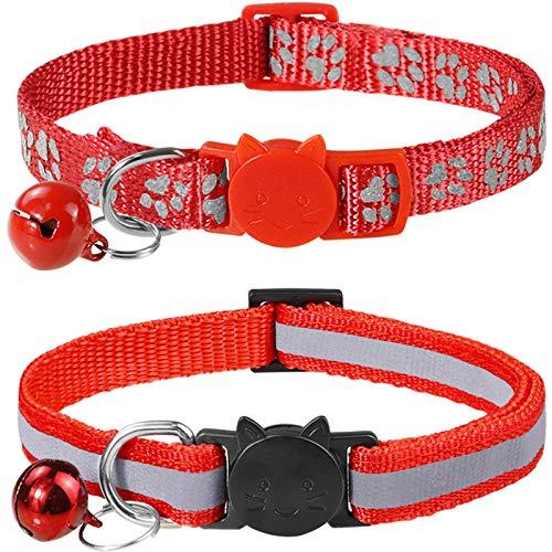 Taglory Collare Gatto Riflettente, 2 Pezzi Collari per Gatti Antistrozzo con Campanellino e Fibbia di Sicurezza, Stampa Zampa Carina 19-32cm Rosso