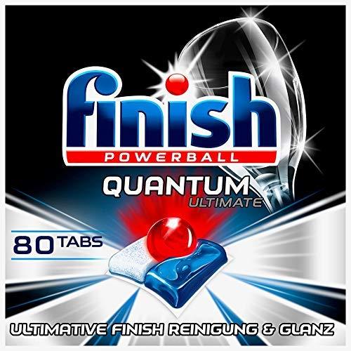 Finish Quantum Ultimate Spülmaschinentabs – Phosphatfreie Geschirrspültabs mit 3-fach Wirkung – Kraftvolle Reinigung, Fettlösekraft und Glanz – Sparpack mit 80 Finish Tabs