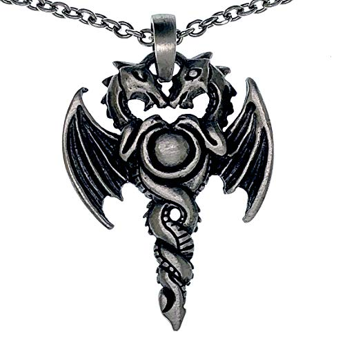 Egyptian Dragons Jewelry Caduceus Medical Health Symbol Double Dragon Serpent Snake Staff of Herms Pewter Men's pendant necklace Protection Amulet Wealth Money Well Being Charm Stainless Steel Chain