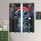 MRFSY Cortinas de armario Lilo & Stitch para dormitorio, cortinas de ventana con ojales para sala de estar, 182 x 153 cm