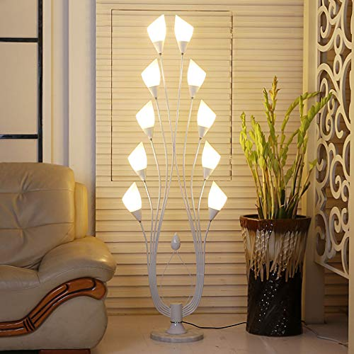 10 Lumières Art Lily Salon Lampadaire De Mode Noir Blanc Peacock Lampe Chambre Fer Décoration Décoration De Table Lampe, Base En Marbre, Abat-Jour En Acrylique, W62 * H159CM (Couleur : Blanc)