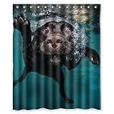 Larona Populärer lustiger reizender Labrador-H& Badezimmer-Duschvorhang, Dusche-Ringe eingeschlossen 100prozent Polyester wasserdicht 150 x 180 cm