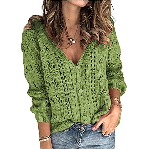 Suéter de punto casual de las señoras hueco suéter linterna