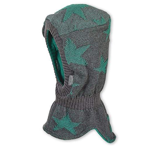 Sterntaler - Jongens baby 2 in 1 sjaalmuts om te draaien gebreide muts gevoerd met patroon of effen, donkergrijs groen - 4711900