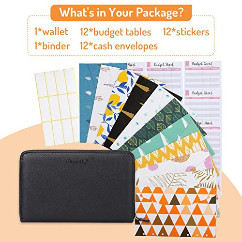 Magicfly Cash Envelope Wallet, All-in-One Budget System Wallet with 12 Budget Envelopes& Budget Sheets & Labels, Waterproof & Lightweight, Budget Envelope for Tracking of All Your Spending, Black