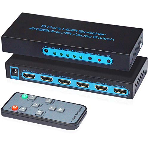 4K@60Hz HDMI Switch 5x1,FiveHome 5 Port HDMI Switcher with IR Wireless Remote Support Auto Switch, HDMI 2.0, HDCP 2.2, HDR, Full HD, 3D