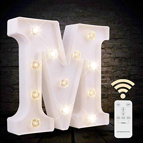 Obrecis LED Letter Lights White Marquee Letters Alphabet Light Up Sign with Diamond Bulbs Remote Control Timer, Light Up Wedding Birthday Party Decoration Letters (M)