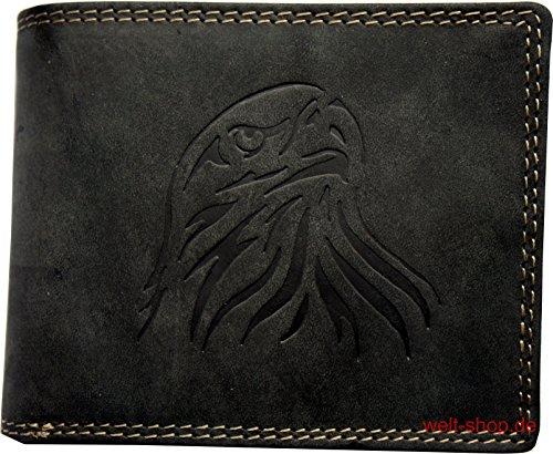 Portemonnaie Wasserbüffel Leder Adler geprägt RFID Geschenkbeutel