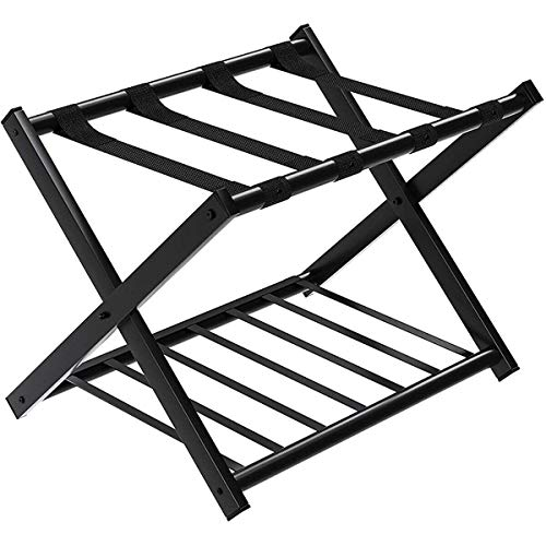 GOFLAME Folding Luggage Rack Metal Suitcase Luggage Stand for Home Bedroom Hotel with Shelf,Black