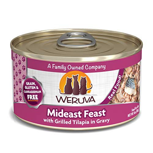 Weruva Classic Cat Food, Mideast Feast with Grilled Tilapia & Whole Meat Tuna in Gravy, 3oz Can...