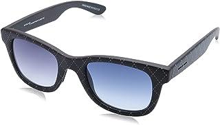 نظارة شمس بعدسات شبه مربعة ازرق متدرج وشنبر منقوش للنساء من ايطاليا انديبندنت - اسود وابيض