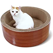 ScratchMe Cat Scratching Post Lounge Bed, Round Shape Cat Scratcher Cardboard Board Pads with Catnip, Durable Recycle Pad Toy Prevents Furniture Damage, Brown