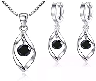 T.Y Sterling Silver Jewelry Set,18k White Gold Plated,Pendant Necklace,and Earrings Set,Comfortable,Delicate Design,Gorgeo...
