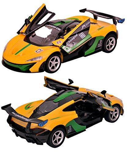Toyshine 1:16 Superemo Remote Control Car with Opening Doors, Rechargeable, Yellow