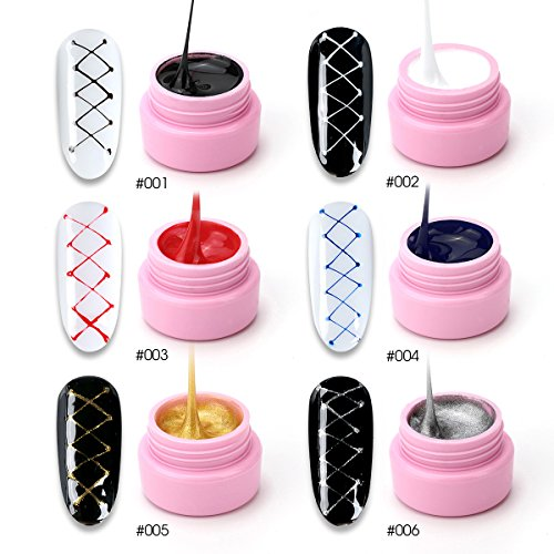 6 Colors Spider Gel, Saviland matrix Gel with Gel Paint Design Nail Art Wire Drawing Gel for Line (White black red blue yellow silver)