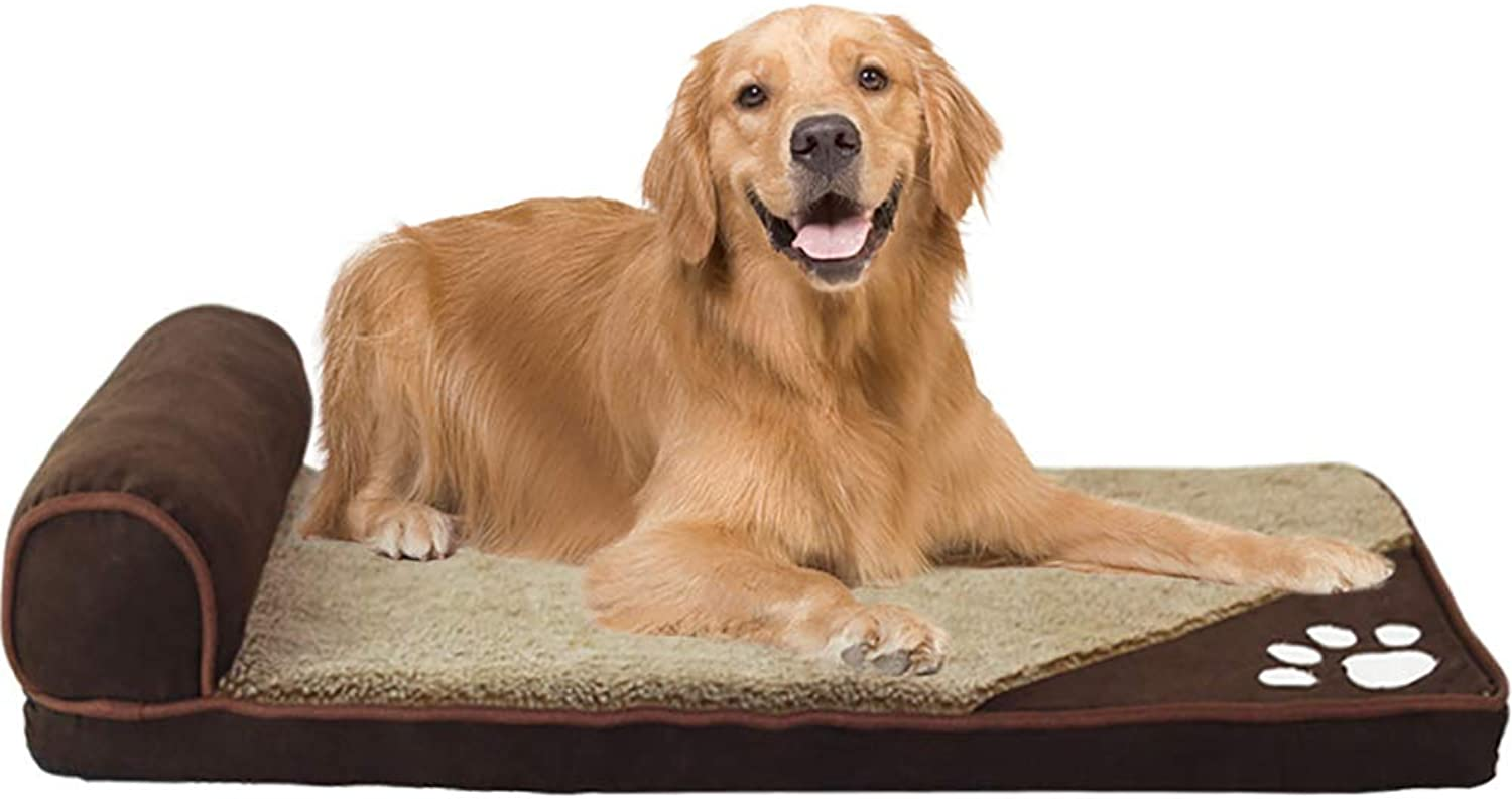 Dog Bed Large Orthopedic Foam Dog Bed Mat,Durable Water Proof Liner and Washable Detachable Mattress Pillow,A,M