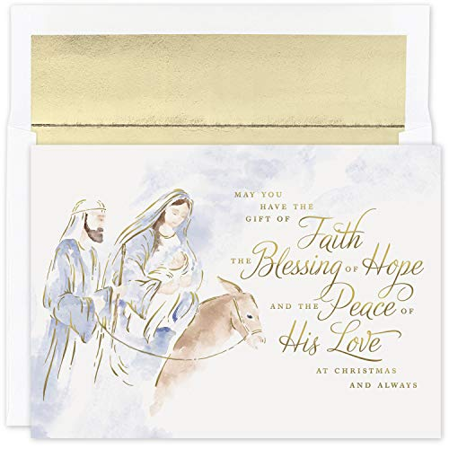 Masterpiece Studios Holiday Collection 18-Count Boxed Religious Christmas Cards With Foil-Lined Envelopes, 7.8' x 5.6', Blessing of Hope
