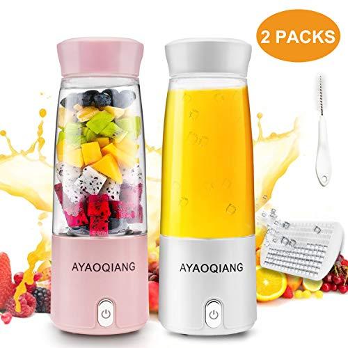 Tragbarer Mixer Smoothie Maker, Mini Portable Blender Persönlicher Saftmixer Standmixer Bottle Elektrisch Juicer Entsafter mit USB Wiederaufladbare für GemüSe und Obst Fruit Milchshake, 2 Packungen