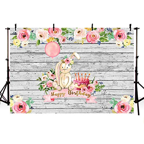 MEHOFOTO 8x6ft Bunny Girl Happy Birthday Party Backdrop Pink Floral Rabbit Rustic Wood Spring Easter Photography Background Photo Banner Poster for Cake Table Supplies