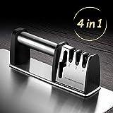 HEPAZ Afilador de Cuchillos Profesional,4 en 1 Knife Sharpener,Afilado Pulido para Afilar Navajas y Tijeras de Embotados Muy Afilados,con Base Antideslizante