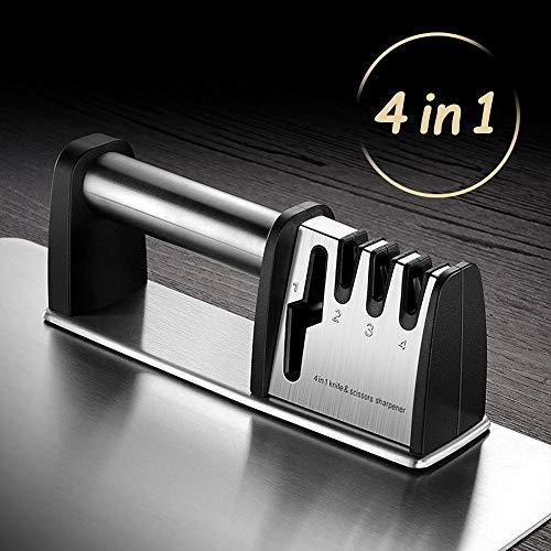 HEPAZ Manuelle Messerschärfer Messerschaerfer 4 Stufen Aktualisierte Version Scherenschärfer Für Scher,Messer schärfen für Kochmesser, Küchenmesser, Messer und Scheren Küche, Rutschfestem