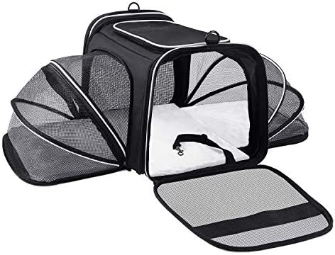 MASKEYON Airline Approved Large 2 Sides Expandable Dog Carrier 4 Door 3 Zippered Pockets 3 Fleece product image
