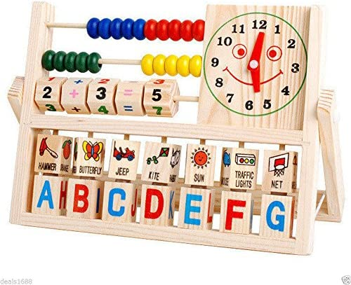 Children Baby Kids Learning Developmental Versatile Flap Abacus Wooden Toys Gift product image