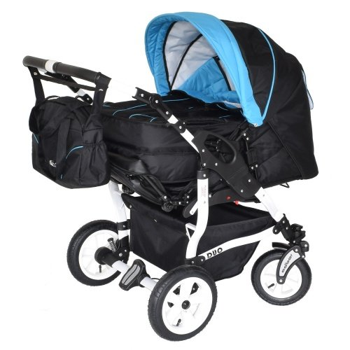 Adbor Duo 3in1 Zwillingskinderwagen mit Babyschalen - weies Gestell, Zwillingswagen, Zwillingsbuggy Farbe Nr. 32w schwarz/himmelblau