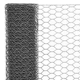 mewmewcat Grillage a Poule, Cloture Jardin, Grillage pour Jardin, Hexagonal, Acier Gris 25 x 1 m Maille 25 mm