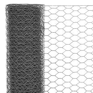Festnight Mallas de Alambre Malla Hexagonal Valla Metalica, Longitud de Malla 25 mm Acero con Recubrimiento de PVC Gris 25 x 1 m
