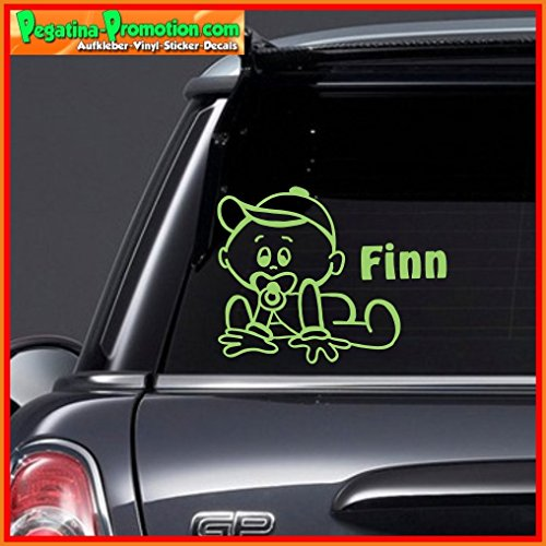 """Hochwertiger Namens Aufkleber \"""" Finn \"""" Autoaufkleber Name Aufkleber Wandtattoo Aufkleber für Glas,Lack,Tür und alle glatten Flächen, viele Farben zur Auswahl,Auto Sticker Baby an Bord, Kindername,Namensaufkleber"""