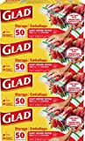 Glad Zipper Food Storage Plastic Bags - Quart - 50 Count, Pack of 4 (Package May Vary)