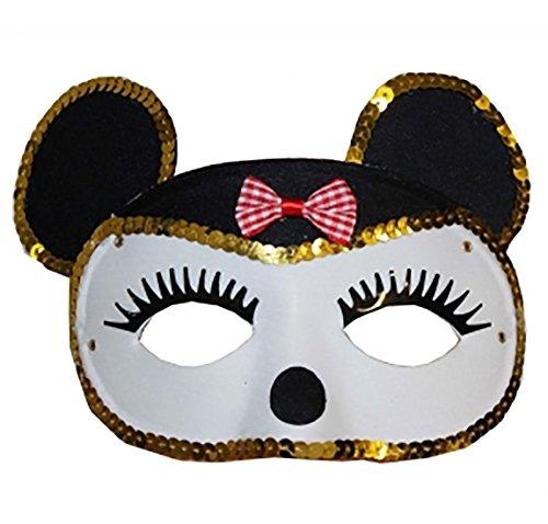 Wicked Fun - Maschera glitterata da topo per festa in costume, colore: Bianco