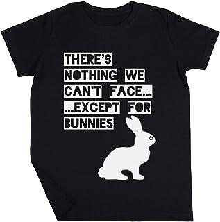 Theres Nothing We Cant Face Except For Bunnies Niño Niña Unisexo Negro Camiseta Manga Corta Kids Black T-Shirt