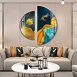 ZHQHYQHHX Alce salto semicircular cristal porcelana pintura frameless lujo arte 2 unids/set colgante pintura