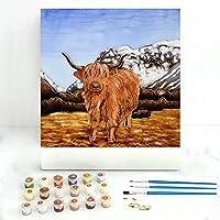 diy 数字油絵 抽象芸術ハイランド牛 大人の子供のためのギフト デジタル油絵 数字キットでペイント ホーム オフィス装飾 40x40cm フレームレス