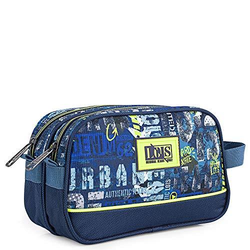 Lois - Neceser de Viaje, Bolsa de Aseo Poliéster Estampado de la Firma LOIS. Diseño Único y Exclusivo Urbano Skater Graffiti Instituto 131727, Color Marino