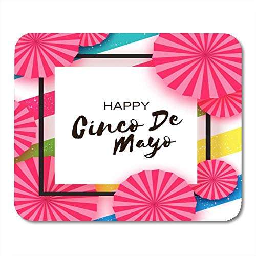 Mauspad Gummi Mini Rechteck Happy Cinco De Mayo Pink Fan Mexiko Karneval auf bunten Streifen Space Gaming Notebook Computerzubehör Backing