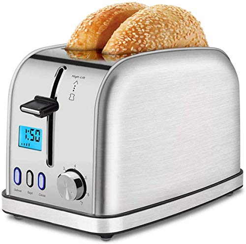 Toaster 2 Slice Best Rated Prime Toasters Wide Slot Stainless Steel Bagels Toasters Compact Retro Toaster with 7 Bread Shade Setting Removable Crumb Tray for Bread, Bagels, Waffles