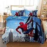 ZZALL Spiderman Parure de lit 3 pièces avec housse de couette et 2 taies d'oreiller 100 % microfibre avec fermeture Éclair, Microfibre, Spiderman 04, 220 x 240 cm