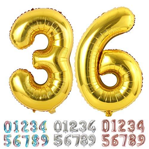 Ponmoo Foil Globo Número 36 63 Dorado, Gigante Numeros 0 1 2 3 4 5 6 7 8 9 10-19 20-29 30-39 40 50 60 70 80 90 100, Grande Globos para La Boda Aniversario, Globo de Cumpleaños Fiesta Decoración