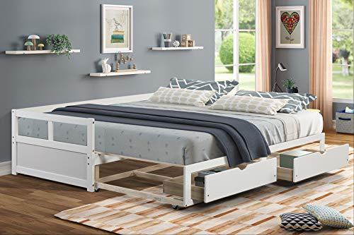 Full Daybed with Two Drawers- White Day Bed with Storage Drawers- Extendable King Size Daybed with Drawers' Trundle Panel- Convertible Full-Size Day Bed with Storage