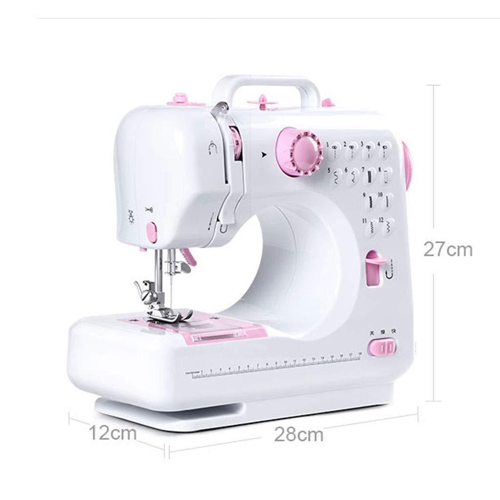 Hogar y Cocina Máquinas de Coser Máquinas de coser pequeñas eléctricas portátiles 2 máquinas de coser de 12 velocidades de 12 puntos de mano con pedal Mini hilos de doble máquina de